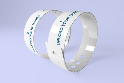 Mockup of Two Vinyl Wristbands Placed inside a Minimalistic Scenery 1429-el