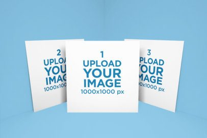Mockup of a Set of Square Flyers Against a Solid Background 1751-el