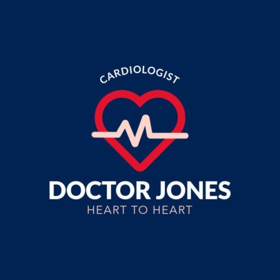 Cardiologist Logo Maker with a Heartbeat Icon 247c-el