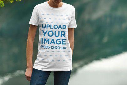 Mockup of a Woman Wearing a T-Shirt by a Lake 1855-el1