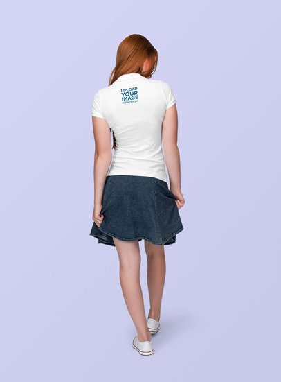 Polo Shirt Mockup of a Woman with a Denim Bottom at a Studio 1887-el1