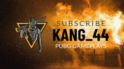 PUBG-Inspired YouTube Banner Template Featuring a Rebel Character 1735m 2063