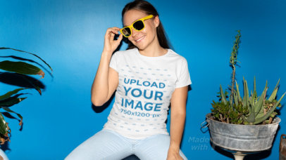 T-Shirt Video Featuring a Woman with Sunglasses and a Stop-Motion Effect 22416