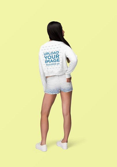 Back View Mockup of a Long-Haired Woman Wearing a Customizable Crewneck Sweatshirt 1865-el1