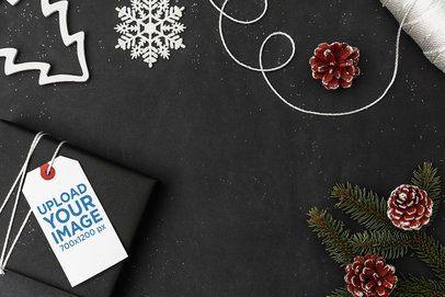 Gift Tag Mockup on a Christmas Minimal Setting 2077-el1