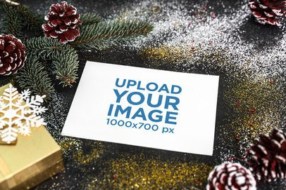 Postcard Mockup Featuring Glittery Christmas Ornaments 2078-el