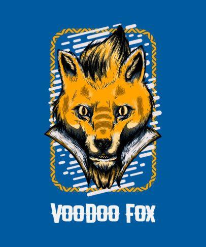 Street-Art Style T-Shirt Design Maker Featuring a Stylish Fox Cartoon Character 44c-el