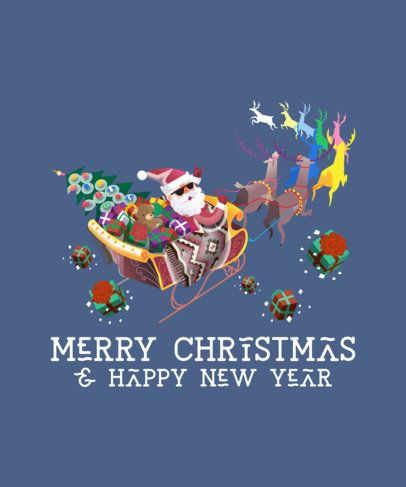 Christmas T-Shirt Design Maker with Cool Santa Illustrations 174-el
