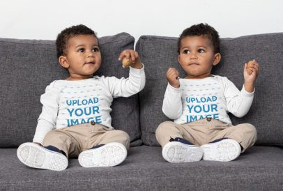 Long Sleeve Onesie Mockup Featuring Two Twin Babies on a Couch 31022