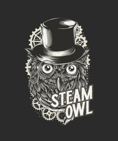 Retrofuturism T-Shirt Design Template with a Fictional Steam Owl 3f-el