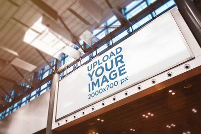Mockup of a Billboard Placed Inside a Building 2203-el