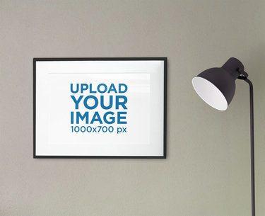 Poster Frame Mockup Featuring a Modern Floor Lamp 2022-el1