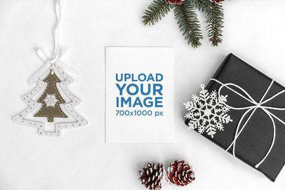 Mockup of a Greeting Card in a Minimalist Christmas Setting 2088-el1