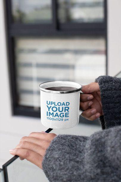 12 oz Enamel Mug with Silver Rim Mockup Featuring a Woman in a Balcony 30840