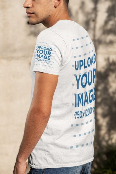 T-Shirt Sleeve Mockup Featuring a Young Man 30878