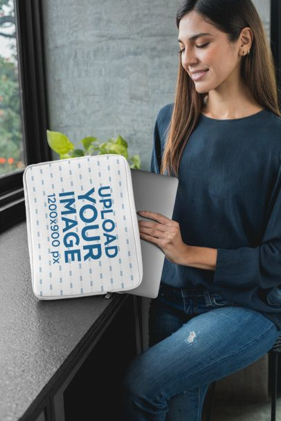 Mockup of a Woman Putting Her Computer into a Laptop Sleeve 30853