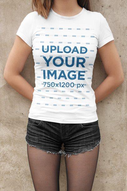 T-Shirt Mockup of a Woman Wearing Short Shorts 2014-el1