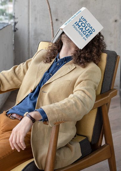 Mockup of a Man Sleeping with a Book on His Face 30923