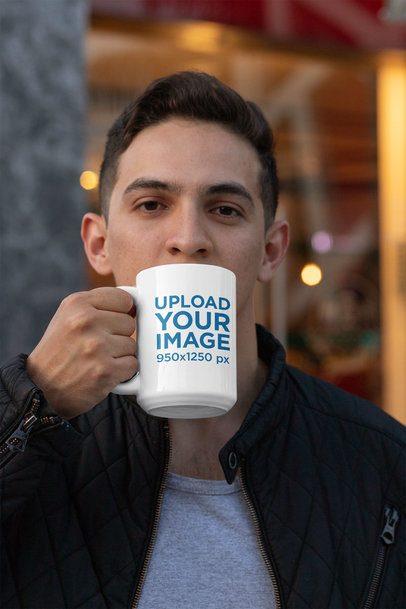 15 oz Mug Mockup Featuring a Young Man Drinking a Coffee 30826