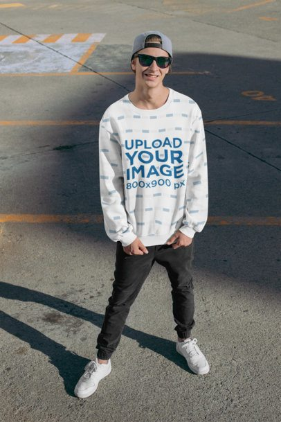 Sublimated Sweatshirt Mockup Featuring a Man at a Parking Lot 31125