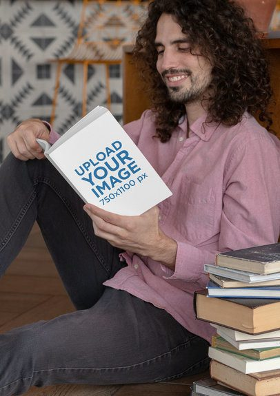 Book Mockup Featuring a Man Next to a Pile of Books 30926