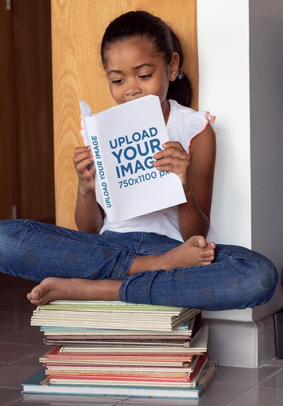 Book Mockup of a Girl Sitting on a Pile of Books 30981