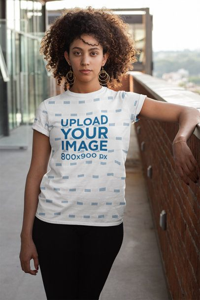 Sublimated T-Shirt Mockup Featuring a Woman at a Terrace 31147