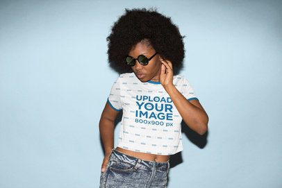 Sublimated Ringer Crop Top Mockup of a Woman with Sunglasses 31144