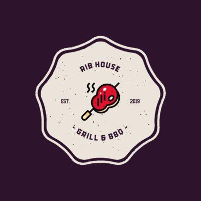 BBQ Restaurant Logo Maker Featuring a Grilled Steak Icon 311a-el1