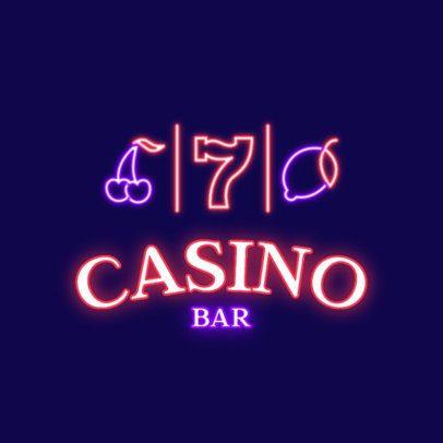 Neon Logo Template for a Casino Bar 2415g 2837