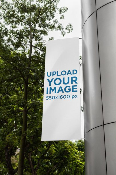 Mockup of a Vertical Banner Attached to a Modern Building 2303-el1