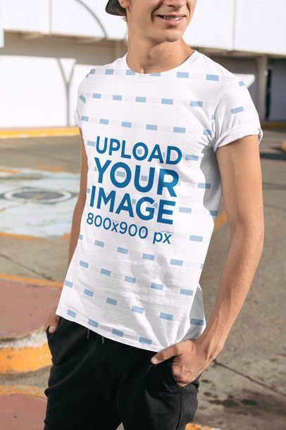 Sublimated Tee Mockup Featuring a Smiling Man at a Parking Lot 31120