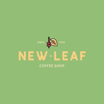 Coffee Shop Logo Maker with a Coffee Leaf Clipart 501a-el1