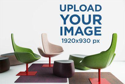 Art Print Wall Mockup Featuring Modern Chairs 1963-el1