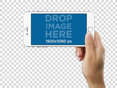 iPhone 6 Plus in Landscape Position Held by a Woman Over a PNG Background Mockup a11635