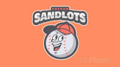 Animated Baseball Team Logo with Friendly Ball Mascot 120f
