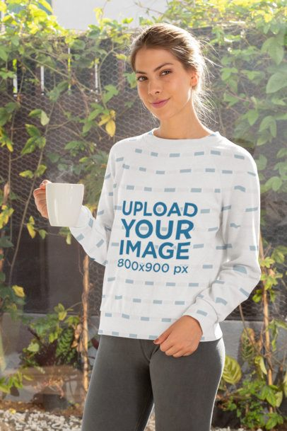Sublimated Crewneck Sweatshirt Mockup of a Woman Standing in Front of Some Plants 31253
