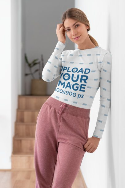 Sublimated Long-Sleeve Tee Mockup of a Woman in a Hallway 31260