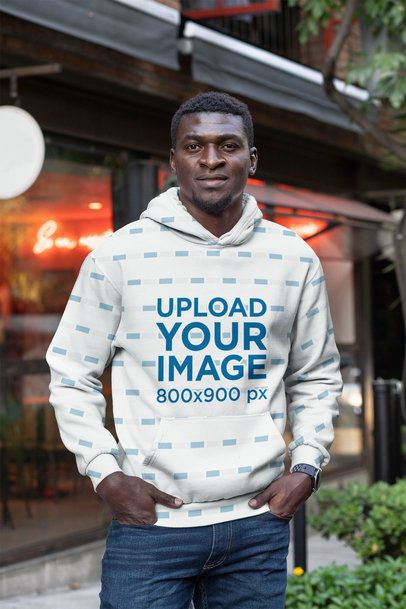 Sublimated Pullover Hoodie Mockup Featuring a Man with Short Hair 31386