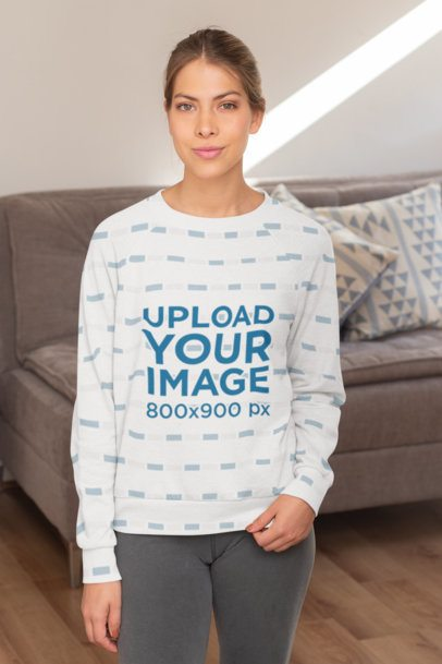 Sublimated Sweatshirt Mockup Featuring a Woman Against a Sofa 31255