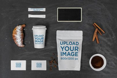 Multiple-Product Mockup of a Coffee Cup and Two Sugar Packets Featuring a Zip Bag Next to Some Business Cards 2181-el1