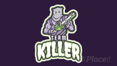 Animated Gaming Logo Maker Featuring a Strong Character Holding a Chainsaw 21q-2858