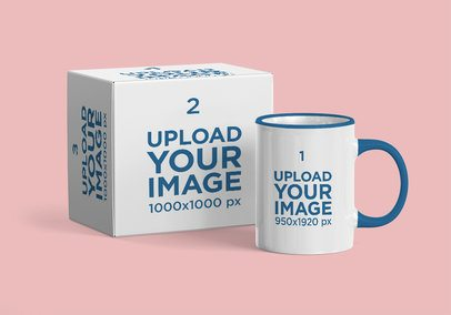 Mockup of a Coffee Mug and Its Package 2372-el1
