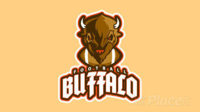Animated Sports Logo Maker for a Football Team with a Buffalo Graphic a21t 2856