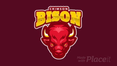 Animated Sports Logo Maker Featuring an Aggressive Bison Graphic 120t-2856