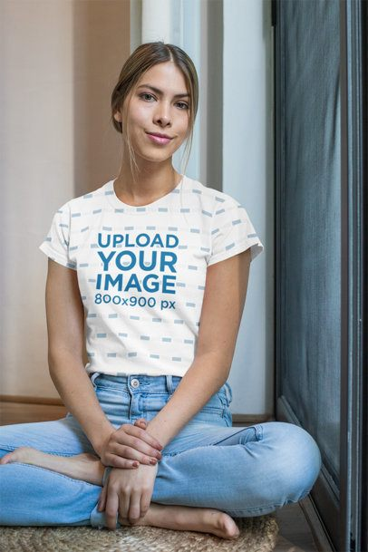 Sublimated T-Shirt Mockup of a Young Woman Sitting on the Floor 31273