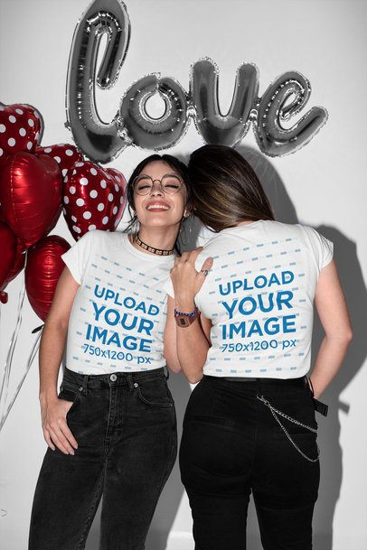 Mockup of Two Women Wearing Matching T-Shirts on Valentine's Day 31233