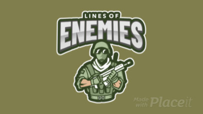 Animated Logo Maker for a Shooting Game with a Soldier Clipart 1869b