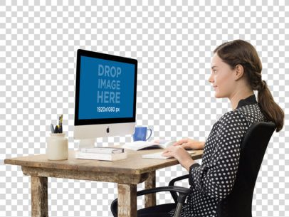 Woman Working on Her iMac at Her Desk Mockup a11694