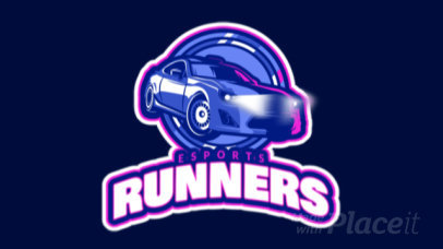 Racing Gaming Team Logo Maker with Cool Animated Car Clipart 1745d